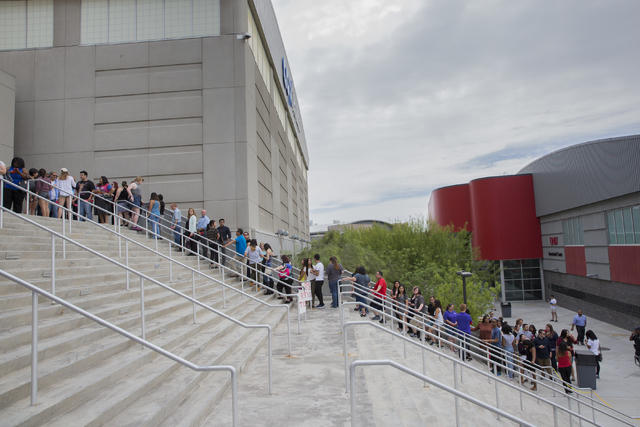Crowds gather outside Cox Pavilion at UNLV to see Lady Gaga and Vice President Joe Biden at an event aimed at preventing sexual assault on college campuses in coordination with the It's On Us Week ...