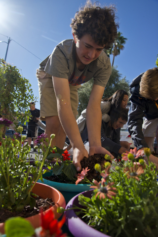 Cody Buckley spreads plant bedding into pots during a volunteer event held by the Gaels Give Hope organization from Bishop Gorman High School, benefitting a New Genesis Transitional Housing apartm ...
