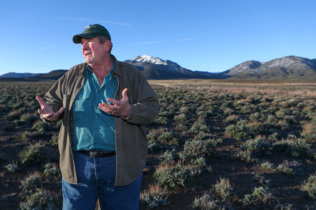 Tim Rubald with the Department of Conservation and Natural Resources talks about the declining numbers of bistate sage grouse near Smith Valley on Thursday, March 31, 2016. (Cathleen Allison/Las V ...
