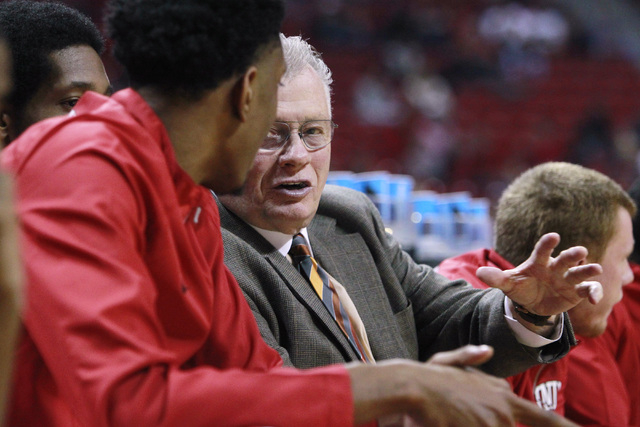 UNLV special assistant to the head coach Max Good talks with forward Christian Wood during their exhibition game against Florida National University Wednesday, Nov. 5, 2014 at the Thomas & Mac ...