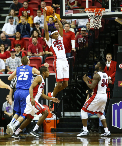 UNLV Rebels guard Patrick McCaw (22) gets a rebound against Air Force during the Mountain West Conference basketball tournament at the Thomas & Mack Center in Las Vegas on Wednesday, March 9,  ...