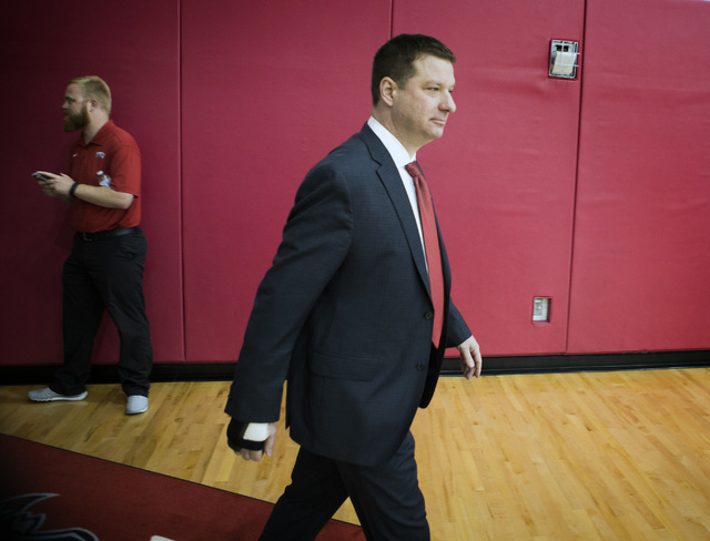 New UNLV basketball coach Chris Beard enters Mendenhall Center for a press conference on Friday, April 8,2016. Jeff Scheid/Las Vegas Review-Journal Follow @jlscheid