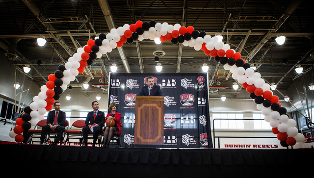 New UNLV basketball coach Chris Beard speaks during a  a press conference at Mendenhall Center on Friday, April 8,2016. Jeff Scheid/Las Vegas Review-Journal Follow @jlscheid