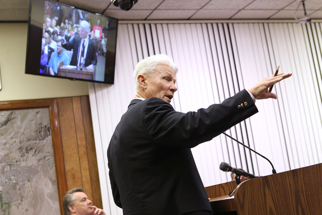 Bill Conger, now the former chief of police administration for Boulder City, speaks during a Boulder City Council meeting at City Hall, Tuesday, Feb. 25, 2014. (K.M. Cannon/Las Vegas Review-Journal)