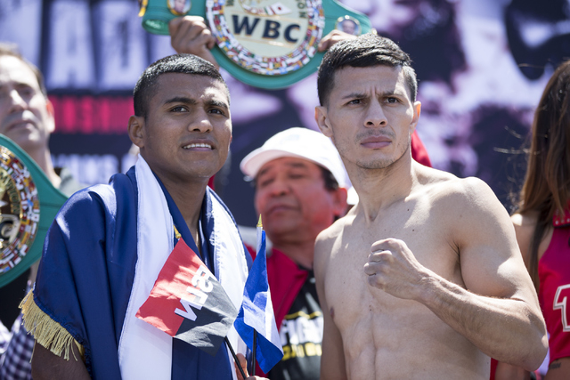Roman Gonzalez, left, and McWilliams Arroyo, pose in a boxing weigh-in on Friday, April 22, 2016, in Las Vegas. Gonzalez and Arroyo will fight tomorrow night. Erik Verduzco/Las Vegas Review-Journa ...