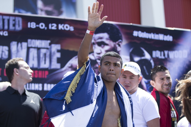 Roman Gonzalez poses on the scale in a weigh-in event at The Forum on Friday, April 22, 2016, in Inglewood, Calif. Erik Verduzco/Las Vegas Review-Journal Follow @Erik_Verduzco
