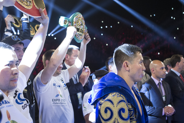 Gennady Golovkin is introduced for his fight against Dominic Wade in the Middleweight World Championship bout at The Forum on Saturday, April 23, 2016, in Inglewood, Calif. Golovkin won by way of  ...