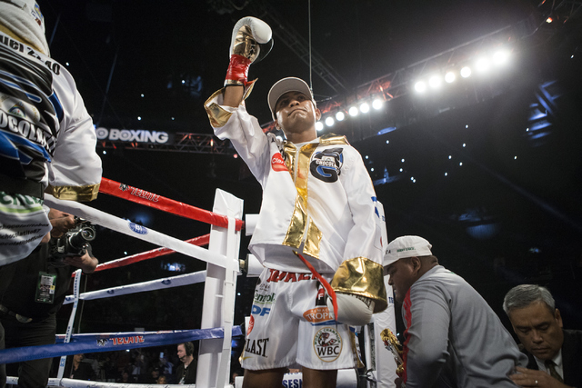 Roman Gonzalez takes the ring for his fight against McWilliams Arroyo in the Middleweight World Championship bout at The Forum on Saturday, April 23, 2016, in Inglewood, Calif. Gonzalez won by una ...