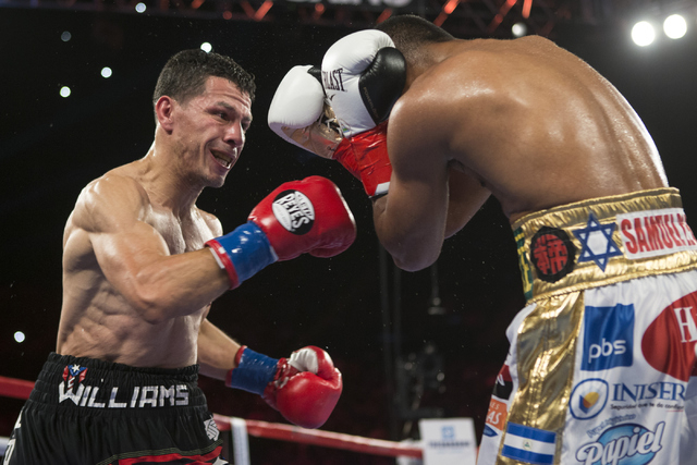 McWilliams Arroyo, left, throws a punch against Roman Gonzalez in the Middleweight World Championship bout at The Forum on Saturday, April 23, 2016, in Inglewood, Calif. Gonzalez won by unanimous  ...