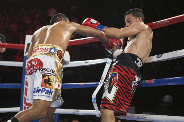 Roman Gonzalez, left, lands a right punch against McWilliams Arroyo in the Middleweight World Championship bout at The Forum on Saturday, April 23, 2016, in Inglewood, Calif. Gonzalez won by unani ...