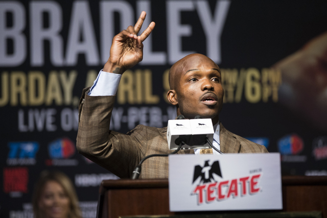 Timothy Bradley speaks during the final press conference before his boxing fight against Manny Pacquiao at the MGM Grand casino-hotel on Wednesday, April 6, 2016, in Las Vegas. Erik Verduzco/Las V ...