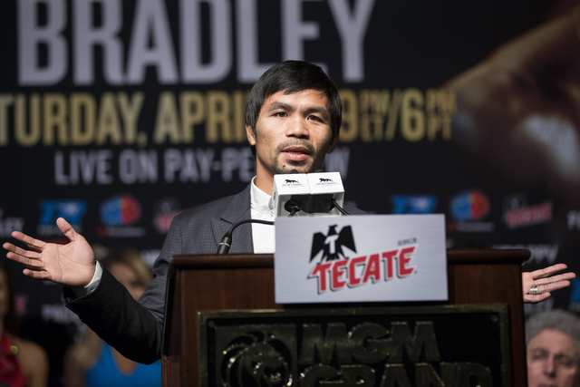 Manny Pacquiao speaks during the final press conference before his boxing fight against Timothy Bradley at the MGM Grand casino-hotel on Wednesday, April 6, 2016, in Las Vegas. (Erik Verduzco/Las  ...