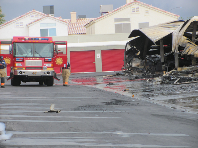 Firefighters Work At The Scene Of A Fire At The Storage At Summerlin  Business On West