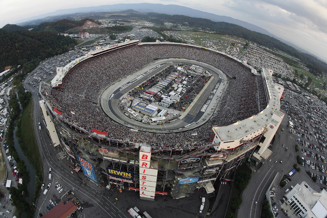 In this Aug. 25, 2012, file photo, the NASCAR Sprint Cup Series auto race is run at Bristol Motor Speedway in Bristol, Tenn. Bristol Motor Speedway is set to unveil its plan to host a football gam ...