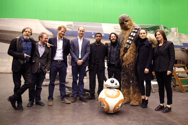 US actor Mark Hamill, US director Rian Johnson, Britain's Prince Harry, Britain's Prince William, British actor John Boyega, character Chewbacca and British actress Daisy Ridley, from left, and dr ...