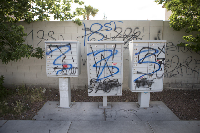 Gang graffiti is seen near Washington Avenue and Ringe Lane on Tuesday, April 19, 2016, in Las Vegas. Erik Verduzco/Las Vegas Review-Journal Follow @Erik_Verduzco