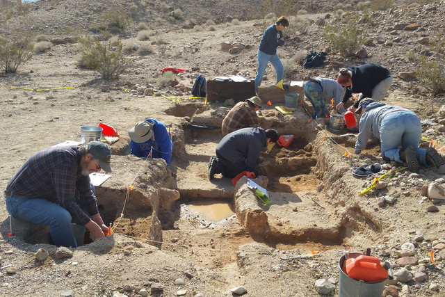 Diggers work in an excavation area at the Calico Early Man Archaeological Site near Barstow, California. (Courtesy Friends of the Calico Early Man Site)