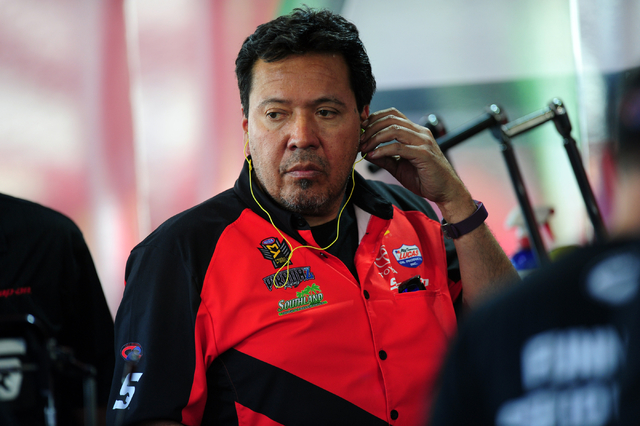 NHRA Funny Car driver Cruz Pedregon is seen in the paddock before the final round of qualifying for the DENSO Spark Plugs NHRA Nationals at The Strip at Las Vegas Motor Speedway in Las Vegas Satur ...