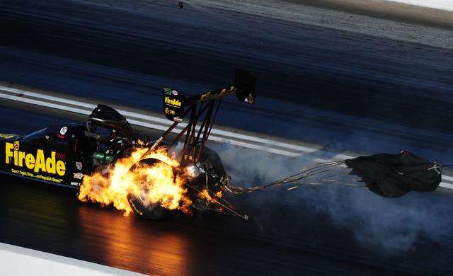 The Top Fuel dragster driven by Leah Prittchett suffers an engine explosion during the final round of qualifying for the DENSO Spark Plugs NHRA Nationals at The Strip at Las Vegas Motor Speedway i ...