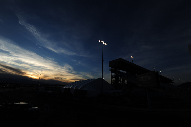 The grandstand at The Strip at Las Vegas Motor Speedway is shown after the DENSO Spark Plugs NHRA Nationals at The Strip at Las Vegas Motor Speedway in Las Vegas Sunday, April 3, 2016. Josh Holmbe ...