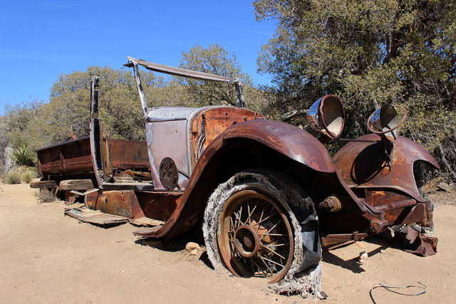 A 1930s-era car is seen near the Wall Street Mill site in Joshua Tree National Park on Sunday, April 3, 2016. (Alexander S. Corey/Las Vegas Review-Journal)
