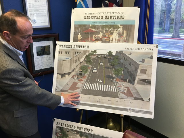 Carson City Manager Nick Marano describes how the Carson street design will change with the new $11.4 million project now under way as of March 24, 2016. Sean Whaley/Las Vegas Review-Journal