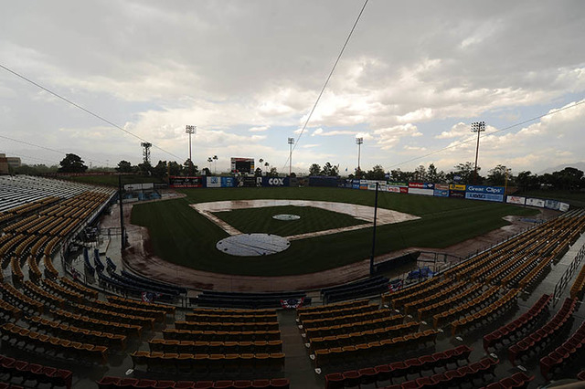 Cashman Field, seen during a rain delay in 2015. (Josh Holmberg/Las Vegas Review Journal)