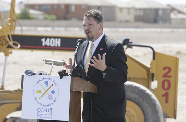Pat Skorkowsky, CCSD Superintendent, speaks Thursday, April 14, 2016 during the groundbreaking ceremony at the site of a new elementary school near the intersection of Dave Wood Circle and Galleri ...