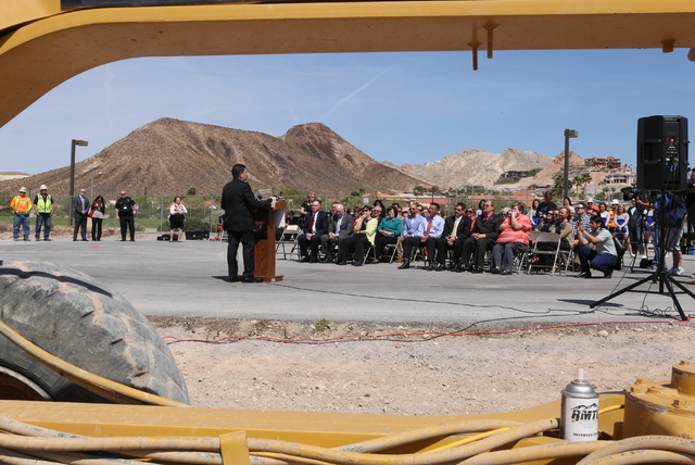 State Sen. Mark Manendo speaks Thursday, April 14, 2016 during the groundbreaking ceremony at the site of a new elementary school near the intersection of Dave Wood Circle and Galleria Drive in He ...