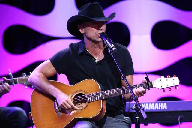 Kenny Chesney performs at the 29th American Cinematheque Awards, honoring Reese Witherspoon, at the Hyatt Regency Century Plaza on Friday, Oct. 30, 2015, in Los Angeles. (Photo by John Salangsang/ ...