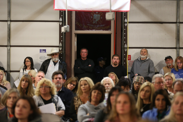 A packed Town Hall meeting at the Volunteer Fire Department building in Mount Charleston Thursday, March 31, 2016. Rachel Aston/Las Vegas Review Journal Follow @rookie__Rae