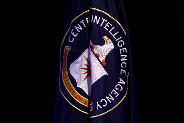 The Central Intelligence Agency  flag is displayed on stage during a conference on national security, Oct. 27, 2015. (Yuri Gripas/Reuters)