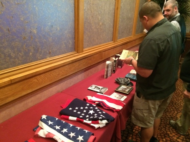 Raffle prizes for the Las Vegas Civil War Round Table are seen March 22 in the private meeting room at Charlie's Lakeside. The group has a program every month on some aspect of the War Between t ...