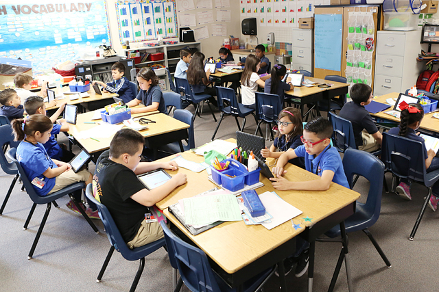 A second grade students at Roundy Elementary School attend their classes  Wednesday, April 5,