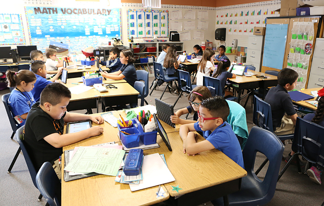 Second-grade students at Roundy Elementary School attend their classes Wednesday, April 5, 2016. The Clark County School Board on Wednesday unanimously approved a 2016-17 tentative budget, which i ...