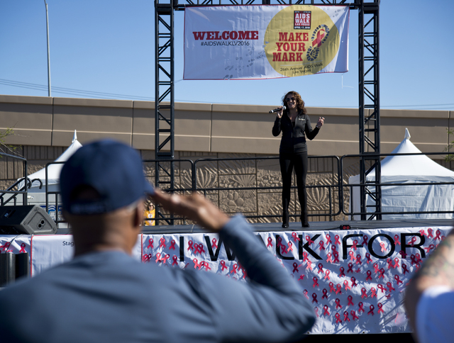 Rachel Tyler sings the national anthem during opening ceremonies for the 26th annual Aid for AIDS of Nevada (AFAN) AIDS Walk Las Vegas at Town Square in Las Vegas on Sunday, April 17, 2016. Daniel ...