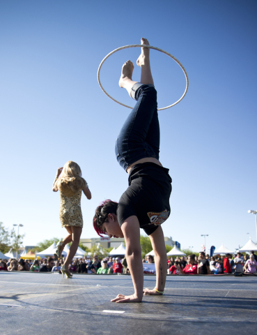 Sebastien Menard, left, and Sasha Pivaral perform on stage during the 26th annual Aid for AIDS of Nevada (AFAN) AIDS Walk Las Vegas at Town Square in Las Vegas on Sunday, April 17, 2016. (Daniel C ...