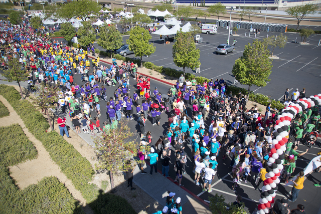 Participants line up at the start-line for the 26th annual Aid for AIDS of Nevada (AFAN) AIDS Walk Las Vegas at Town Square in Las Vegas on Sunday, April 17, 2016. (Daniel Clark/Las Vegas Review-J ...