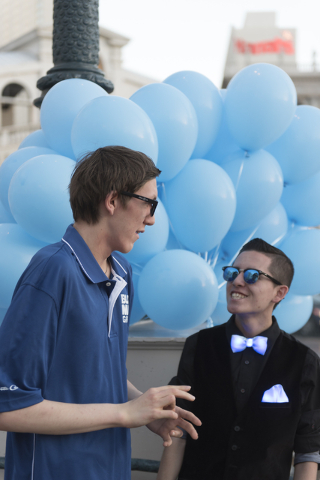 Grant Tache, 14, left, and Miguel Ramirez talk during an event put on by Grant a Gift Autism Foundation to celebrate World Autism Awareness Day at the Venetian in Las Vegas Saturday, April 2, 2016 ...