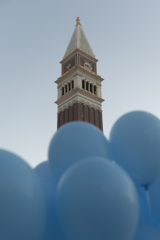 Blue balloons are bundled together waiting to be released during an event put on by Grant a Gift Autism Foundation to celebrate World Autism Awareness Day at the Venetian in Las Vegas Saturday, Ap ...