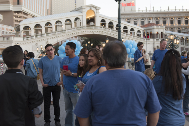 The crowd gathers for a balloon release during an event put on by Grant a Gift Autism Foundation to celebrate World Autism Awareness Day at the Venetian in Las Vegas Saturday, April 2, 2016. Jason ...