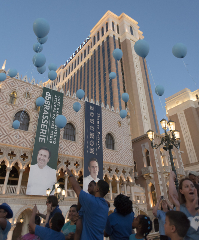 The crowd releases approximately 80 balloons during an event put on by Grant a Gift Autism Foundation to celebrate World Autism Awareness Day at the Venetian in Las Vegas Saturday, April 2, 2016.  ...