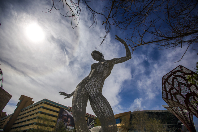 The  Bliss Dance sculpture created by artist  Marco Cochrane is seen during an unveiling at The Park, MGM Resorts Internationalճ outdoor dining and entertainment district, on Friday, March 4 ...