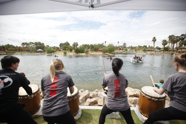 The Las Vegas Tyko drum team performs as boats race in the Cardboard Regatta at the Pirate Fest at Lorenzi Park in Las Vegas Sunday, April 10, 2016.(Rachel Aston/Las Vegas Review-Journal) Follow @ ...