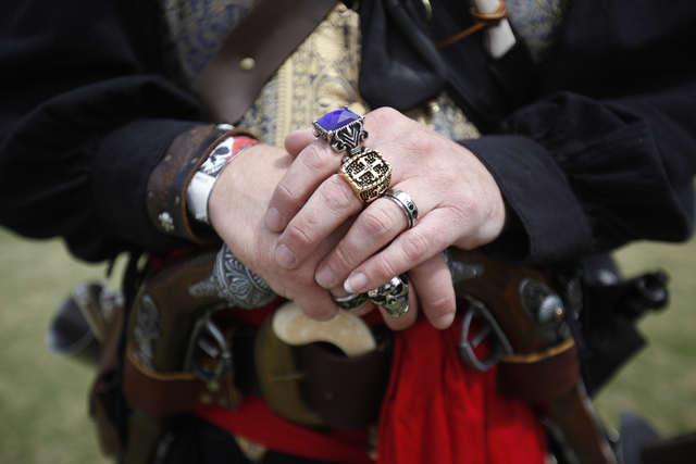 A close up of Aaron LLoyd's costume and jewelry at the Pirate Fest at Lorenzi Park in Las Vegas Sunday, April 10, 2016.(Rachel Aston/Las Vegas Review-Journal) Follow @rookie__rae