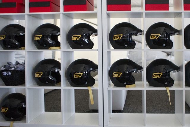 Driving helmets are seen during the ceremonial track opening for SPEEDVEGAS on Friday, April 15, 2016, in Las Vegas. (Erik Verduzco/Las Vegas Review-Journal Follow @Erik_Verduzco)