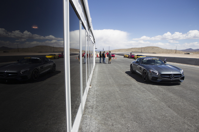 A Mercedes AMG GT-S is seen during the ceremonial track opening for SPEEDVEGAS on Friday, April 15, 2016, in Las Vegas. (Erik Verduzco/Las Vegas Review-Journal Follow @Erik_Verduzco)
