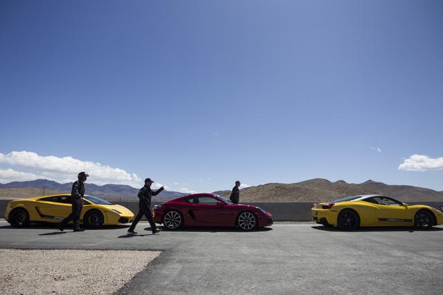Exotic vehicles are seen during the ceremonial track opening for SPEEDVEGAS on Friday, April 15, 2016, in Las Vegas. (Erik Verduzco/Las Vegas Review-Journal Follow @Erik_Verduzco)