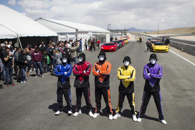 The Jabbawockeez participate during the ceremonial track opening for SPEEDVEGAS on Friday, April 15, 2016, in Las Vegas. (Erik Verduzco/Las Vegas Review-Journal Follow @Erik_Verduzco)