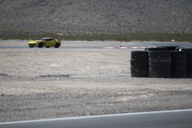 A driver takes a lap in a Corvette Z06 during the ceremonial track opening for SPEEDVEGAS on Friday, April 15, 2016, in Las Vegas. (Erik Verduzco/Las Vegas Review-Journal Follow @Erik_Verduzco)